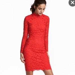 H&M Red Lace Dress Spring Easter Size 2